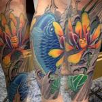 sean crane tattoo koi lower leg