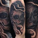 sean crane tattoo day of the dead ghostly woman